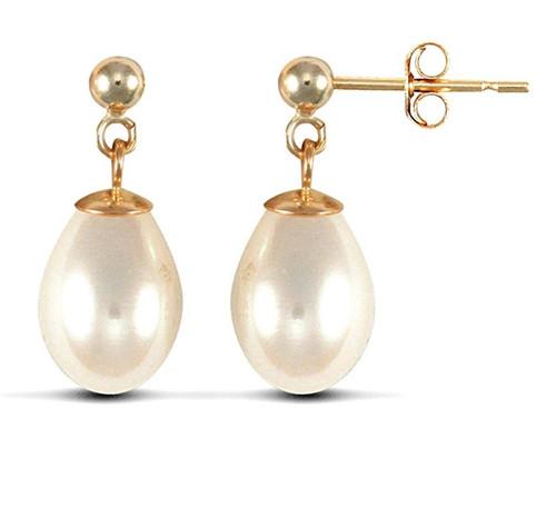 9ct Yellow Gold Freshwater Cultured Pearl Tears of Joy Stud Drop Earrings