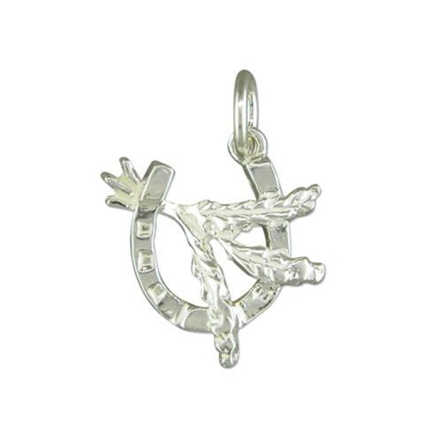 Sterling Silver Scottish Heather in a Horseshoe Charm