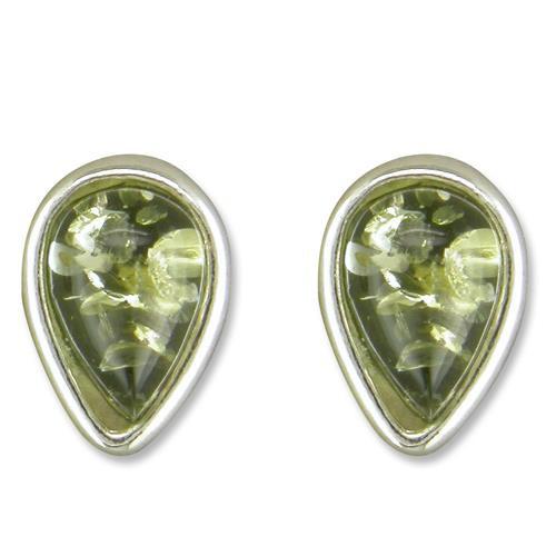 Sterling Silver Teardrop Green Amber Stud Earrings