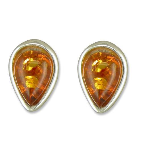 Sterling Silver Cognac Amber Teardrop Stud Earrings