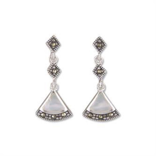 Sterling Silver Marcasite + Mother of Pearl Art Deco Style Dangle Stud Earrings