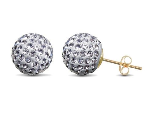 10mm white crystal ball shamballa 9Ct Gold Stud Earrings