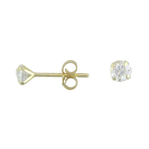 3mm Round Cubic Zirconia 9Ct Gold Stud Earrings