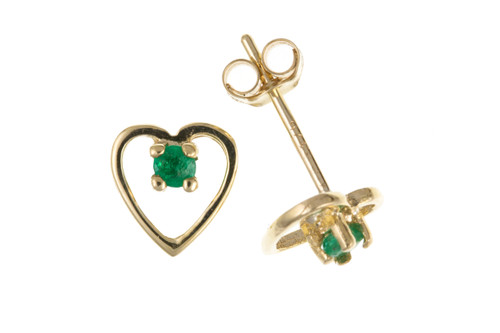9ct Yellow gold Emerald set cut out heart stud earrings