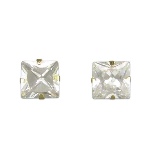 5mm Square Cubic Zirconia 9Ct Gold Stud Earrings