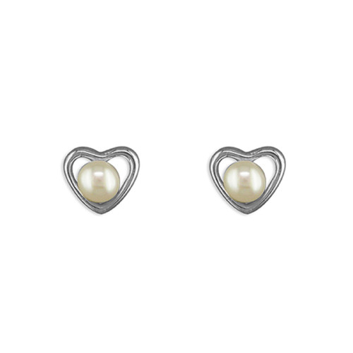 Sterling Silver small Heart with White Freshwater Pearl stud Earrings