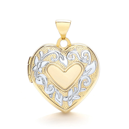 9ct gold Yellow and white gold two colour heart shaped Family locket