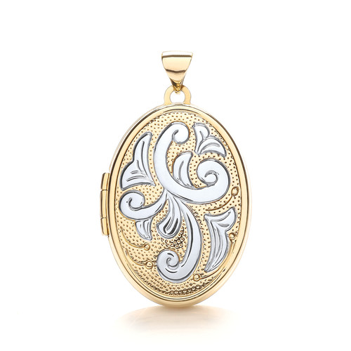 9ct gold Yellow and white gold Oval shaped Floral Family locket