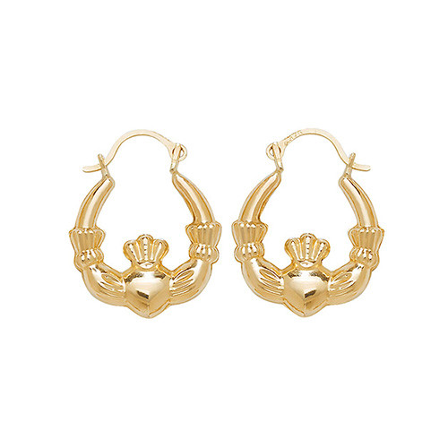9Ct Gold Small Claddagh Creole Earrings 0.8g