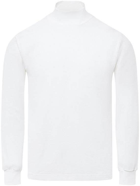 WHITE PREMIUM HEAVYWEIGHT MOCK NECK LONG SLEEVE T-SHIRT