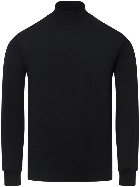 BLACK PREMIUM HEAVYWEIGHT MOCK NECK LONG SLEEVE T-SHIRT