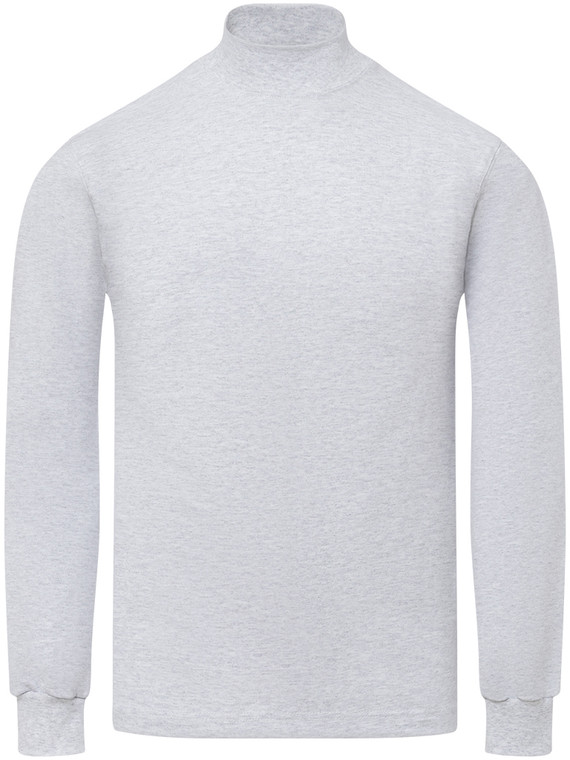 HEATHER GREY PREMIUM HEAVYWEIGHT MOCK NECK LONG SLEEVE T SHIRT