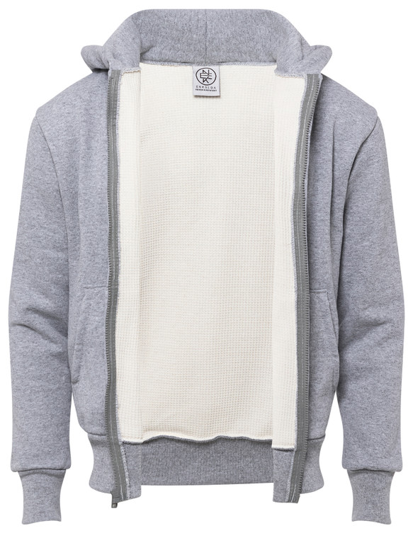 HEATHER GREY PREMIUM HEAVYWEIGHT THERMAL LINED ZIPPER HOODIE