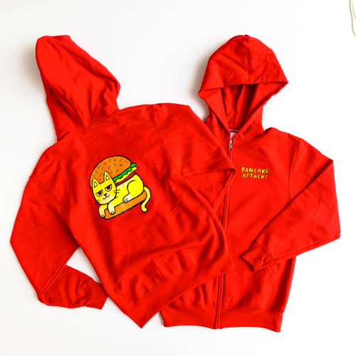 Cat Burger - Zip-Up Hoodie (4T/XS only available)