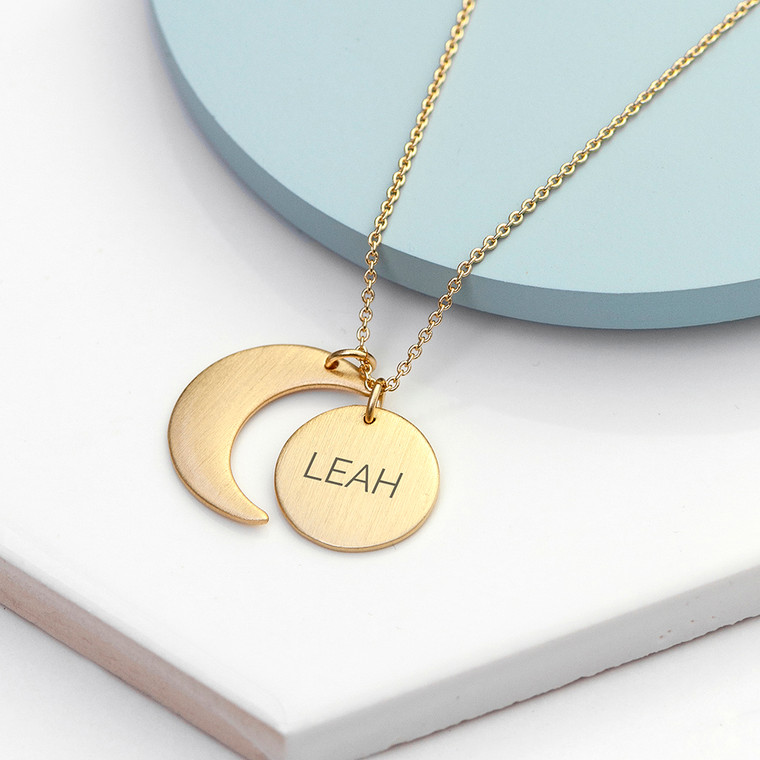 Personalised Moon & Star Necklace