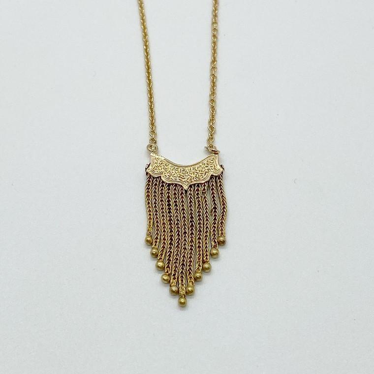 Gold Tassel Necklace Detail