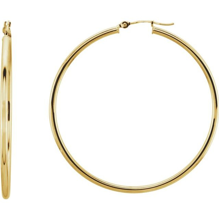 14k yellow gold 47mm hoops