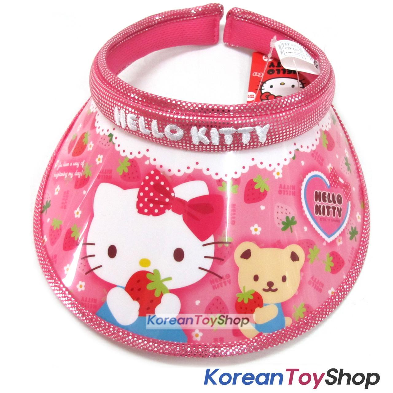 8b35af622d632 Hello Kitty Visor Hat Sun Cap Kids Girl Kitty Strawberry Model Designed by  Korea ...