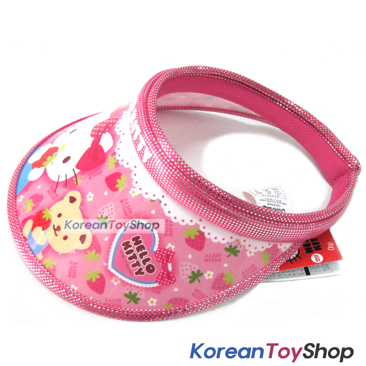 21dab335927b2 ... Hello Kitty Visor Hat Sun Cap Kids Girl Kitty Strawberry Model Designed  by Korea