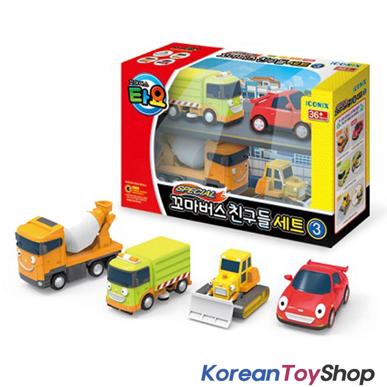 00140 The Little Bus Tayo Friends 4 Pcs Set V 3 Toy Cars Ruby