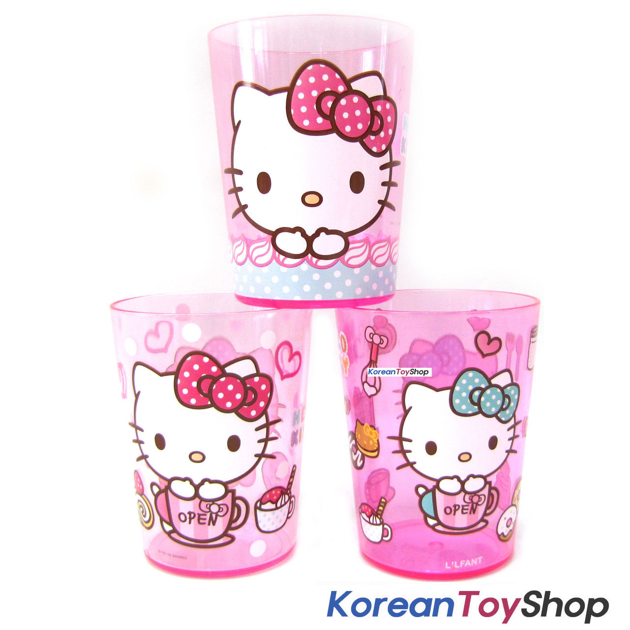 79139ae1b Hello Kitty Cute Cup Set / 3 pcs Cups Kids Children / Made in Korea ...