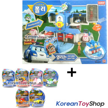 Robocar Poli Convertible Rescue Center Headquarter Play set & 6 pcs Diecast Toy