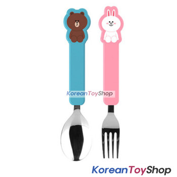 LINE Friends BROWN CONY Stainless Steel Spoon & Fork Set Kids BPA Free Korea