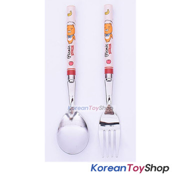 KAKAO Friends RYAN Stainless Steel Spoon & Fork Set Kids BPA Free Made in Korea