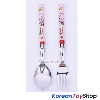 KAKAO Friends APEACH Stainless Steel Spoon & Fork Set Kids BPA Free Made/ Korea