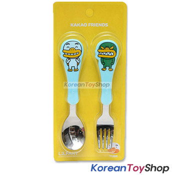KAKAO Friends TUBE Stainless Steel Spoon & Fork Set Kids BPA Free Made in Korea