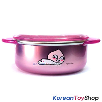 KAKAO Friends APEACH Stainless Steel Bowl 350ml w/ Lid Handle Non Slip Original
