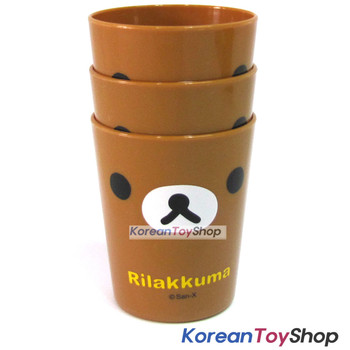 Rilakkuma Cute Plastic 3 pcs Cup Set Kids Children / Made in Korea Original