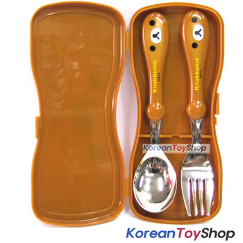 Rilakkuma Stainless Steel Spoon & Fork Set w/ Case BPA Free / Made in Korea