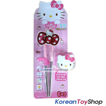 Hello Kitty Stainless Steel Training Chopsticks w/ Replacement Button