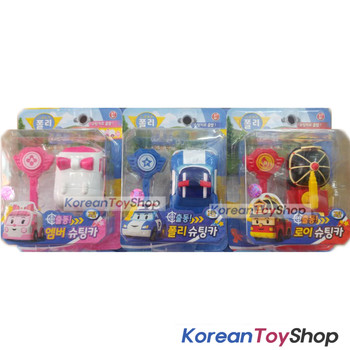 Robocar Poli Shooting Mini Car 3 pcs Toy Set with Key - Poli Roy Amber Original