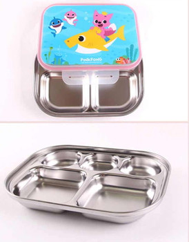 PINKFONG Compact Stainless Steel Food Tray Lunch Box Kids with Lid &Bag Original