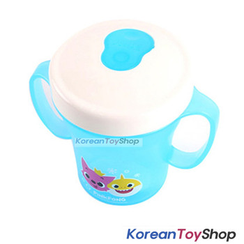 PINKFONG Blue Plastic Two Handle No-Spill Water Cup Silicone Straw Made in Korea
