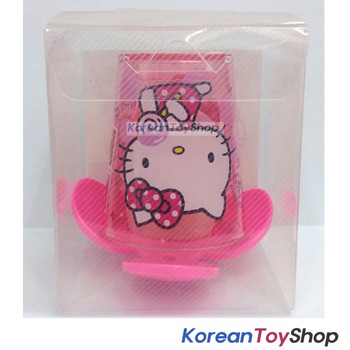 Hello Kitty Toothbrush Holder & Clear Cup Set Wall Mount w/ Double Side Tape