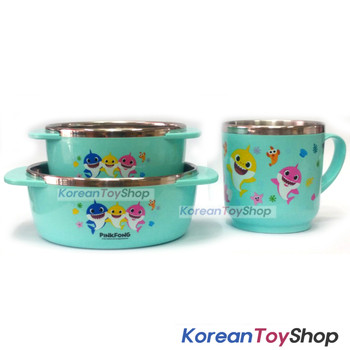 PINKFONG Stainless Steel Bowl 2 pcs, cup 1pcs Handle Non-slip BPA Free Original