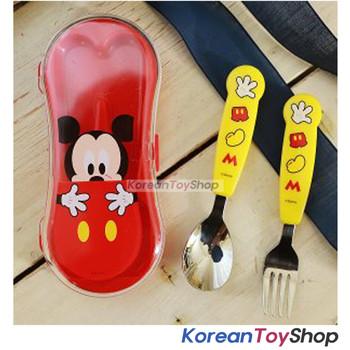 Disney Mickey Easy Stainless Steel Spoon Fork Case Set BPA Free Made in Korea