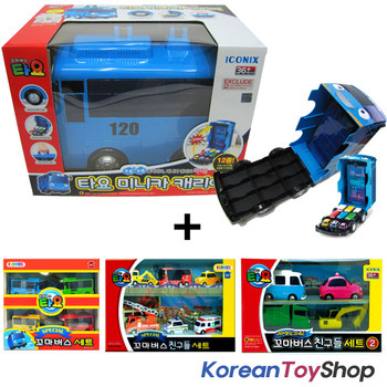 The Little Bus TAYO Car Carrier Storage Toy & Tayo 14 pcs Mini Cars Set