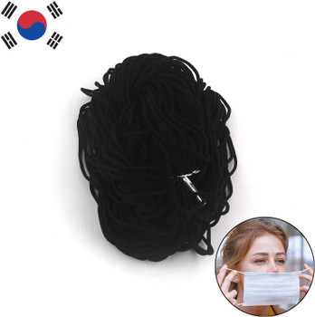 1/8 inch Round Elastic Cord Heavy Strength Earloop String Strap Elastic Bands for DIY Sewing / 100yds White or Black