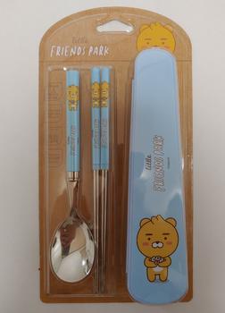 Kakao Little Friends Character Stainless Spoon & Chopsticks Case Set Ryan