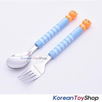 Kakao Friends Ryan Easy Grip Figure Mascot Stainless Spoon Fork Set