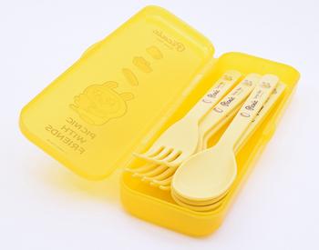 Kakao Friends MUZI Picnic 3 pcs Spoon & 3 pcs Fork Case Set Yellow