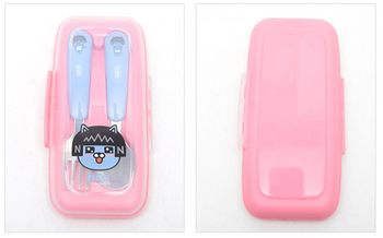 Kakao Friends NEO Cute Stainless Steel Spoon Fork Case Set