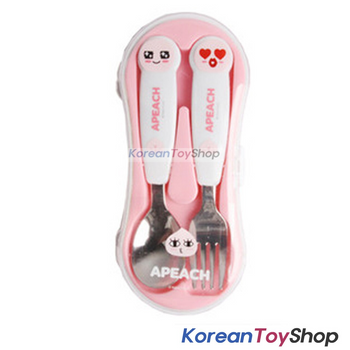 KAKAO Friends APEACH Stainless Steel Spoon & Fork Case Set BPA Free Korea
