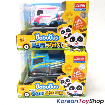 BabyBus Panda Monster AMBULANCE & DUMP TRUCK Toy Car Set Free Wheels Academy 100%