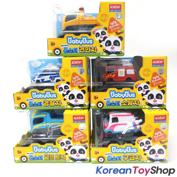 BabyBus Panda Monster Toy Car 5 pcs Set - Tow Truck, Police Car, Fire Truck, Dump Truck, Ambulance