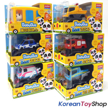 BabyBus Panda Monster Toy Car 6 pcs Set - Bus, Tow Truck, Police Car, Fire Truck, Dump Truck, Ambulance